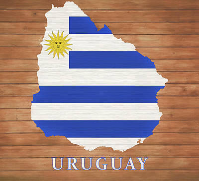 Mixed Media - Uruguay Rustic Map On Wood by Dan Sproul