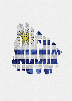 Tourism Digital Art - Uruguay Typographic Map Flag by Inspirowl Design