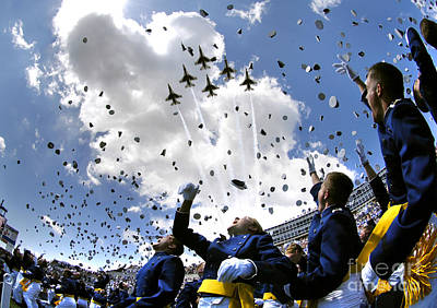 U.s. Air Force Academy Graduates Throw Print by Stocktrek Images