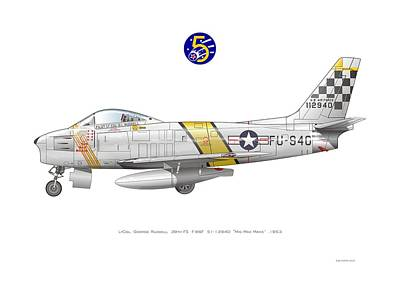 Digital Art - Us Air Force F-86 Saber by Rick Blyseth