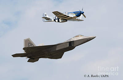 Photograph - Us Air Force Heritage Flight 2007 With  P-51 Mustang And F-22 Raptor by Antoine Roels