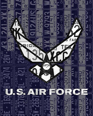 Armed Forces Mixed Media - Us Air Force Logo Recycled Vintage License Plate Art by Design Turnpike