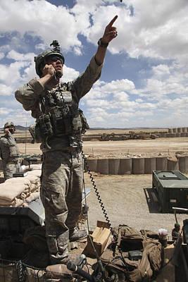 Raised Image Photograph - U.s. Air Force Member Calls For Air by Stocktrek Images