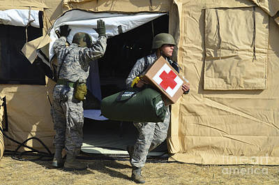U.s. Air Force Soldier Exits A Medical Print by Stocktrek Images