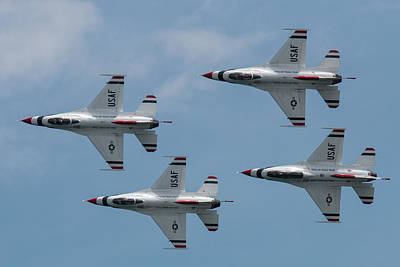 Comic Character Paintings - U.S. Air Force Thunderbirds Four Ship Flyby by Tony Hake