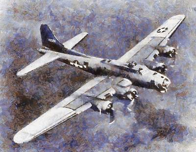 Airforce Painting - Us Airforce B-17 Bomber Wwii by Esoterica Art Agency