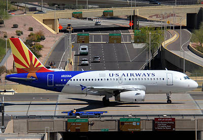 Us Airways Airbus A319-132 N826aw Arizona At Phoenix Sky Harbor March 16 2011 Art Print by Brian Lockett