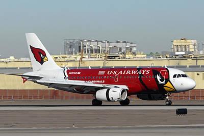 Us Airways Airbus A319 Arizona Cardinals Phoenix Sky Harbor November 10 2010 Art Print by Brian Lockett