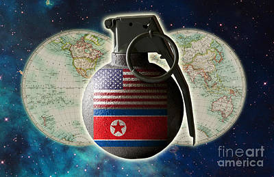 U.s. And North Korean Conflict Art Print by George Mattei