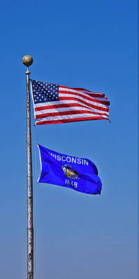 Photograph - Us And Wisconsin Flags - Madison - Wisconsin by Steven Ralser