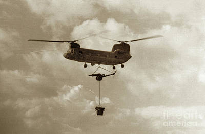 Photograph - U.s. Army Boeing Ch-47 Chinook Aka Hook  Brings In An 105mm  Artillery 1968 Rvn by California Views Mr Pat Hathaway Archives
