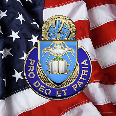 U.s. Army Chaplain Corps - Regimental Insignia Over American Flag Art Print