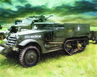 Painting - U.s. Army Halftrack by Michael Cleere
