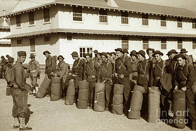 Photograph - U. S. Army Troops In Bonnie Hats, Web Gear With Bed Roll's  Circa 1942 by California Views Mr Pat Hathaway Archives