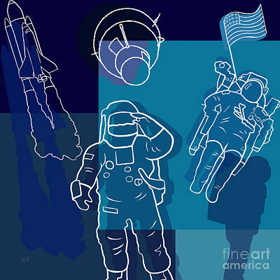 Us Astronauts Art Print by Bedros Awak
