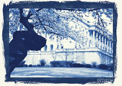 Us Capital Digital Art - Us Capital Building In Blue by Katherine W Morse
