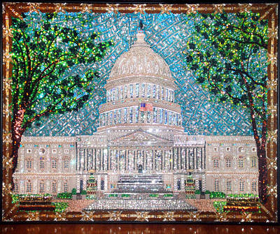 Bead Embroidery Painting - Us Capital Building Super Size Bead Embroidery by Sofia Metal Queen