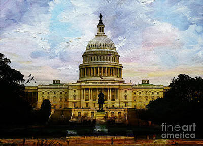 Star Spangled Banner Painting - Capitol Building, Washington, D.c 007 by Gull G