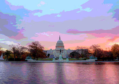 Washington Monument Mixed Media - Us Capitol At Sunset by Charles Shoup