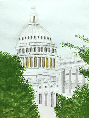 Capitol Building Painting - Us Capitol Building by Bonnie Young