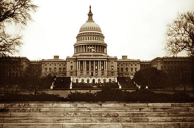 Sepia Tone Photograph - Us Capitol Building In 1950s by Marilyn Hunt