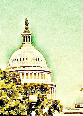 Capitol Building Mixed Media - Us Capitol Building by Mary Pille