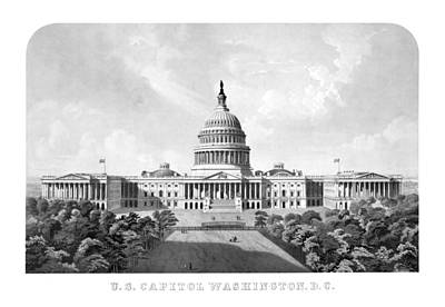 Washington Dc Mixed Media - Us Capitol Building - Washington Dc by War Is Hell Store