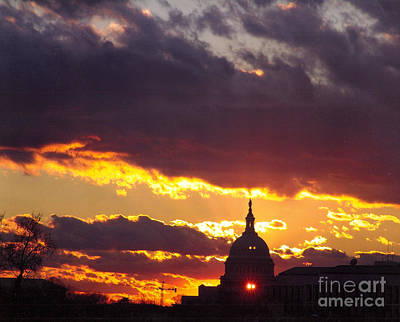 Photograph - U.s. Capitol Dome At Sunset by Rod Ismay