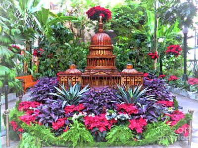 Photograph - Us Capitol - Holiday Display At Us Botanic Gardens by Kerri Farley