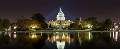 Photograph -  Us Capitol Night Panorama by Val Black Russian Tourchin