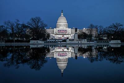U.s. Capitol Reflection Before Inauguration Art Print by Matailong Du