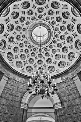 Art Print featuring the photograph Us Capitol Rotunda Washington Dc Bw by Susan Candelario
