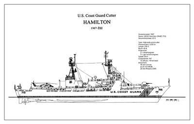 Warship Digital Art - U.s. Coast Guard Cutter Hamilton by Jose Elias - Sofia Pereira