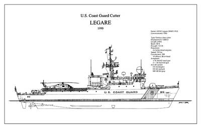 Drawing Digital Art - U.s. Coast Guard Cutter Legare by Jose Elias - Sofia Pereira