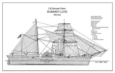 Steamer Lane Digital Art - U.s. Coast Guard Revenue Cutter Harriet Lane by Jose Elias - Sofia Pereira