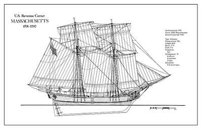 Tall Ship Digital Art - U.s. Coast Guard Revenue Cutter Massachusetts by Jose Elias - Sofia Pereira