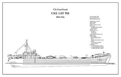 U.s. Coast Guard U.s.s. Lst 785 Art Print by Jose Elias - Sofia Pereira