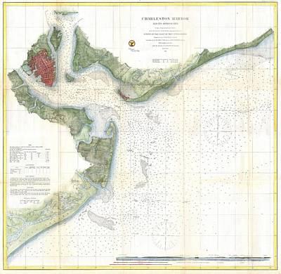 Old Map Painting - Us Coast Survey Nautical Chart Of Charleston Harbor South Carolina by Celestial Images