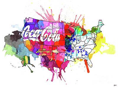 Mixed Media - Us Coke Map by Daniel Janda