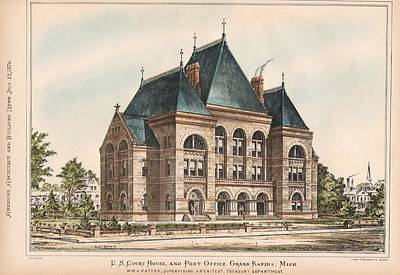Grand Rapids Painting - U.s. Court House And Post Office. Grand Rapids Michigan 1876 by W M A Potter