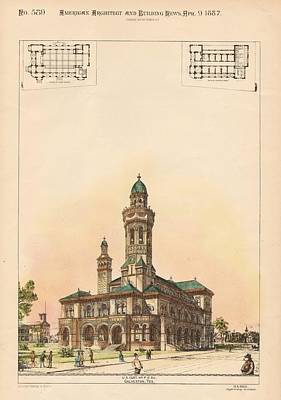 Galveston Painting - U.s. Custom House And Post Office. Gaveston Tx. 1887 by M E Bell