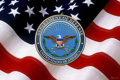 U. S. Department Of Defense - D O D Emblem Over American Flag Original