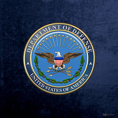 Digital Art - U. S. Department Of Defense - D O D Emblem Over Blue Velvet by Serge Averbukh