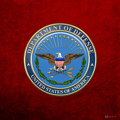Digital Art - U. S. Department Of Defense - D O D Emblem Over Red Velvet by Serge Averbukh