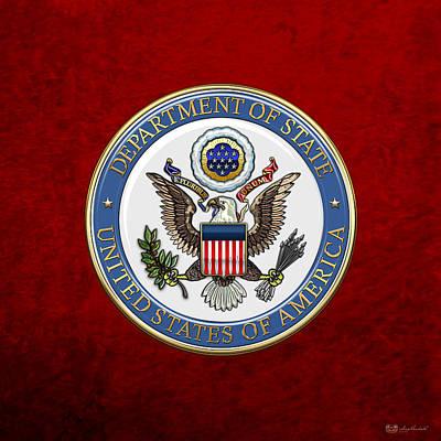 Digital Art - U. S. Department Of State - Dos Emblem Over Red Velvet by Serge Averbukh