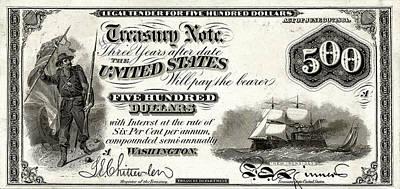 Digital Art - U.s. Five Hundred Dollar Bill - 1864 $500 Usd Treasury Note  by Serge Averbukh