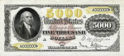 U.s. Five Thousand Dollar Bill - 1878 $5000 Usd Treasury Note  Original