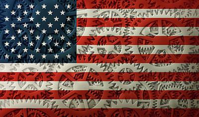 Digital Art - Us Flag And The Gears Design by James Larkin