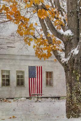 Farm Scenes Photograph - Us Flag In Autumn Snow by Joann Vitali