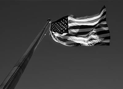 Stars Photograph - U.s. Flag In Black And White by Greg Mimbs